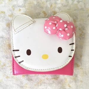 Hello Kitty Wallet Tri Fold Pink Face Puffy Bow